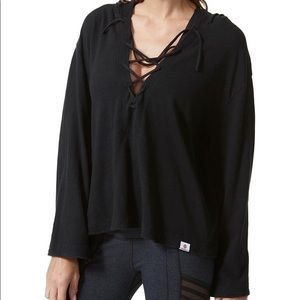 NWT Vimmia black Lace up Front Hoodie size small